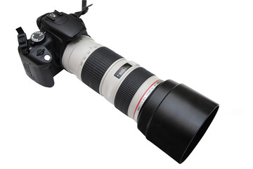 camera with teleobjective lens
