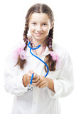 Positive teenager girl pretend to be a doctor poster