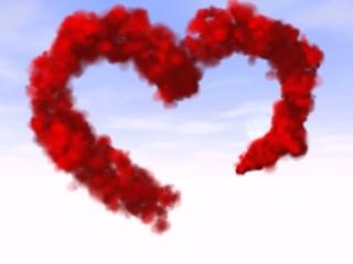 red heart  made of smoke
