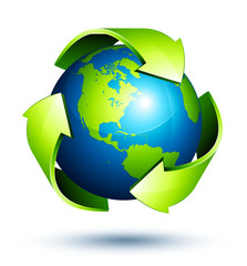 Earth and recycling symbol ( USA and south america view )