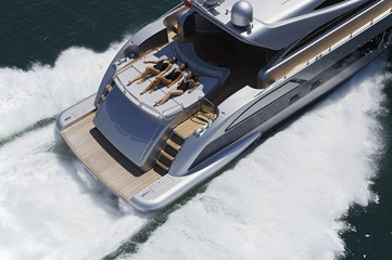 ITALY, Lazio, Tirrenian sea, aerial view of luxury yacht