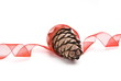 Cedar cone with red ribbon