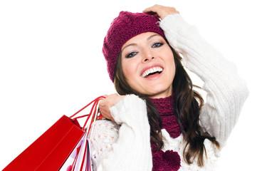 Hübsche Frau mit Einkaufstüten