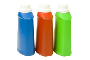 Liquid Detergent in Colorful Bottles