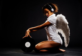 beautiful angel with vinyl