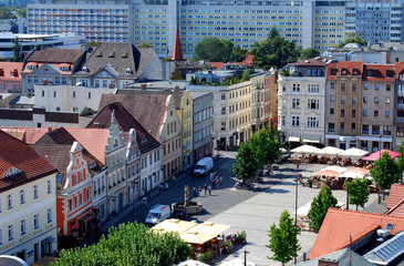 aerial view on the city of cottbus, germany, altmarkt market