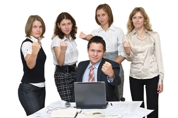 Five young busines people in office make threatening gestures.