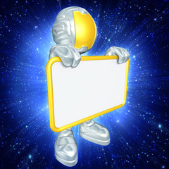 Mini Astronaut With Sign