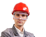 Serious architect, engineer, or supervisor in red hardhat poster