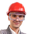 Smiling architect, engineer, or supervisor in red hardhat poster