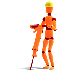 orange / red  manikin as a worker with jackhammer