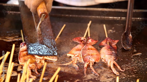 Roasting  squid shashlik