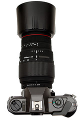 slr camera with zoom lens