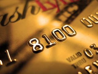 Golden credit card close-up