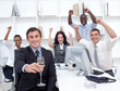 Successful businessteam driking champagne in office