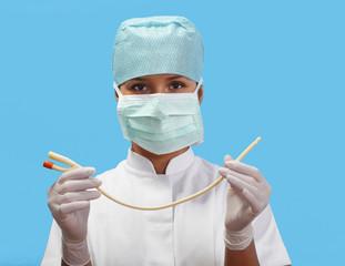 Female nurse with an urinary catheter