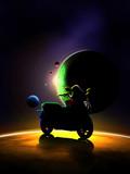 scooter sur une planete dans la galaxie poster
