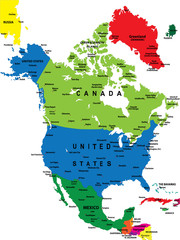 Political map of North America