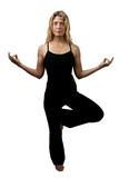 Yoga pose, blond woman standing on one foot, hands appart
