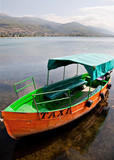 taxi boat in Ohrid Macedonia poster