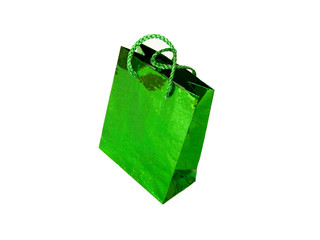 Green gift bag, isolated over white.