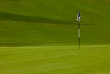 Golf course green with flag