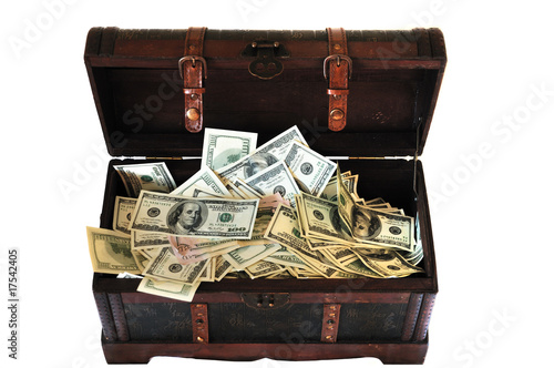 Poster full of money wooden chest