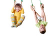 children on gym sports rings