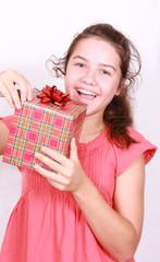 Daring girl opens gift