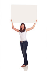 Young Woman holding a white billboard over her head