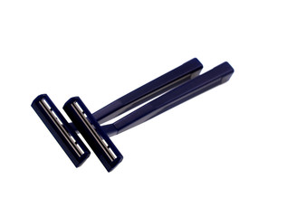 Two dark blue disposable razors for shaving