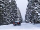 Road During Snowfall poster