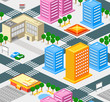 roleta: Isometric city seamless pattern with roads, buldings, trees