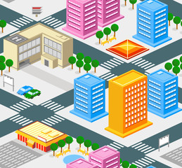 Isometric city seamless pattern with roads, buldings, trees