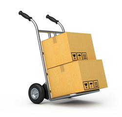 Hand truck with two cardboard boxes