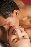 intimate color image of sensual couple foreplay poster