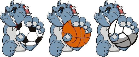 A Cartoon sport bulldog. Vector