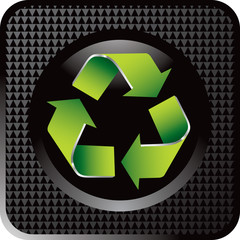 Recycle symbol on black checkered web button