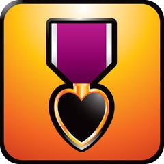 Purple heart on gold web button
