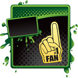 Foam fan hand on green and black halftone template poster
