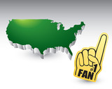 Green united states icon with fan foam hand poster
