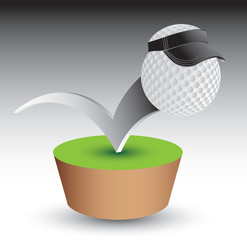 Golf ball with visor on green patch