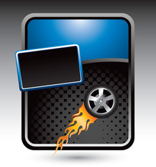 Flaming tire on blue stylized advertisement