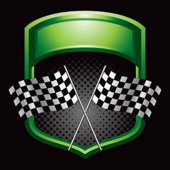 Racing flags on green display