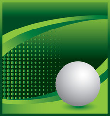 Ping pong ball on green halftone advertisement