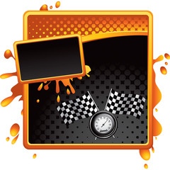 Racing flags and speedometer on orange and black halftone ad
