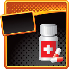 Medicine bottle on orange and black halftone template