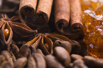 aroma coffe. ingredients. coffe beens, anise, cinnamon, sugar