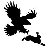 silhouette of the ravenous bird attacking hare poster