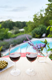 Wine glasses at the pool. Relaxing scene - Fine Art prints